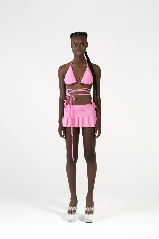 Mini falda plisada rosa
